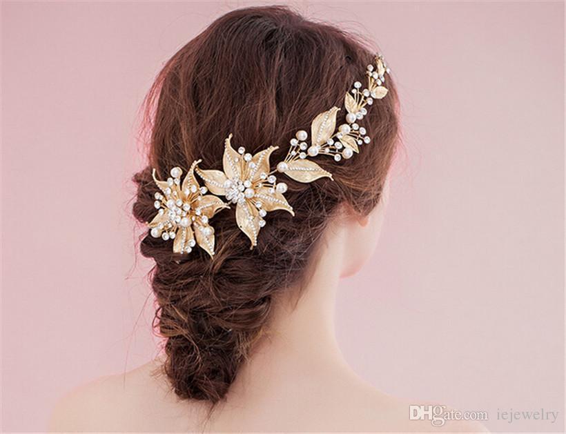 wedding bridal flower headband hair accessories gold leaf crown tiara crystal rhinestone headpiece jewelry baroque headdress prom pieces