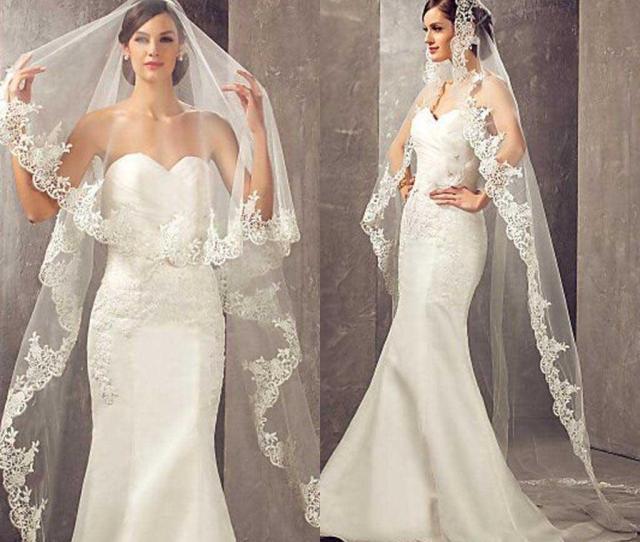 Meters Long Cheapest Chapel Length White Ivory Bridal Veil Lace Appliques Veu De Noiva Wedding Veil Bride Veil Wedding Veils Uk From
