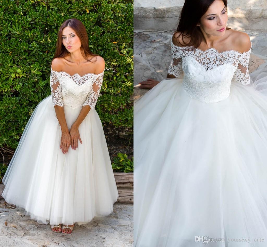 Discount Cute Short Wedding Dresses Off Shoulder Half Sleeves Lace Tulle Beach Wedding Dresses