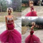 Robe De Mariage Beaded Crystal Burgundy Black Girl Sexy