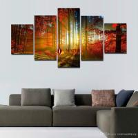 2017 5 Panel Forest Painting Canvas Wall Art Picture Home