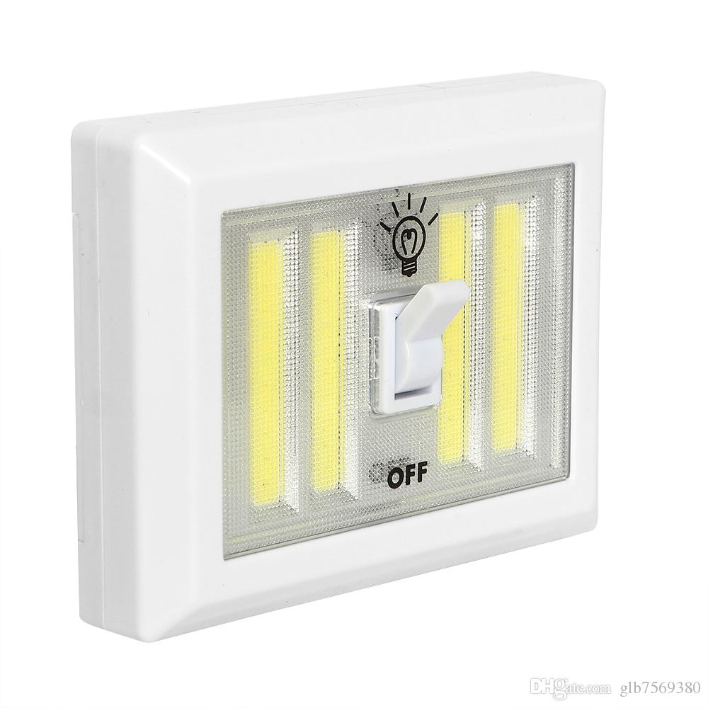Magnetic 4 COB LED Cordless Light Switch Wall Night Lights Battery