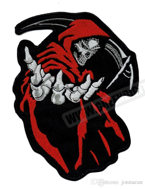 2019 Fashion 5 Grim Reaper Red Death Rider Vest Embroidery