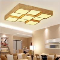 Modern wood led ceiling lights square box 9 heads light ...