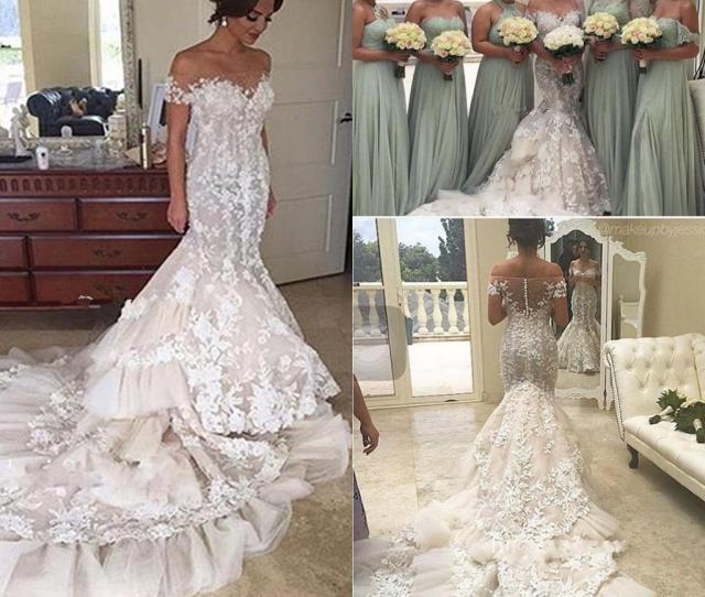 9dd6ce014421 Steven Khalil 3d Applique Floral Cathedral Train Mermaid Wedding Dresses  2018 Sheer Neck Short Sleeve Lace
