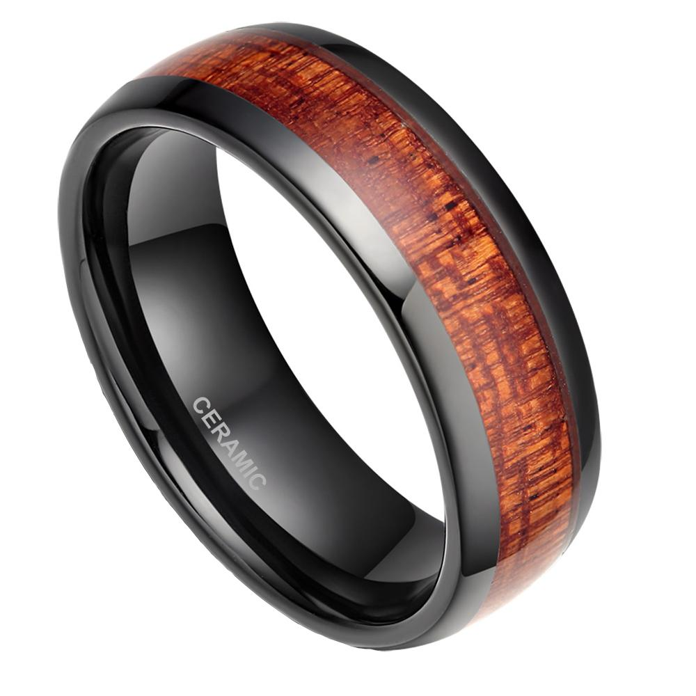 black ceramic ring 8mm men s black ceramic ring wood inlay polished mahogany male wedding rings comfort fit engagement bague fashion jewelry men wedding