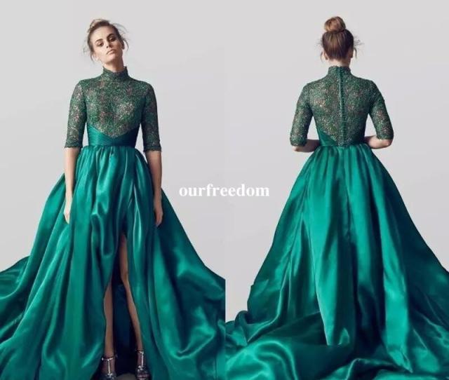 Emerald Green Long Train Evening Dresses  Long High Leg Split Formal Gowns Women Vintage Green Prom Dress Vestidos  Unique Prom Dresses Evening
