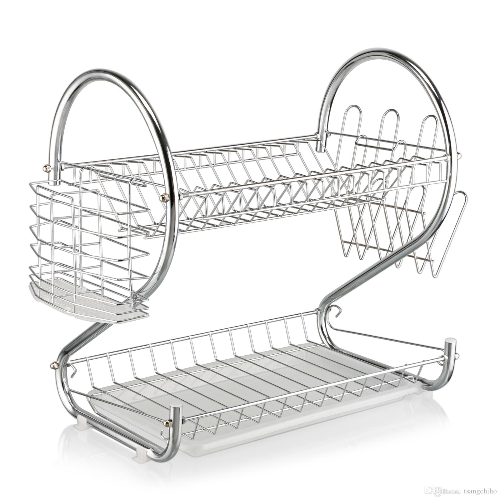 kitchen drying rack task lighting 2019 brand new 2 layer dish cup drainer dryer tray cutlery holder organizer free shipping