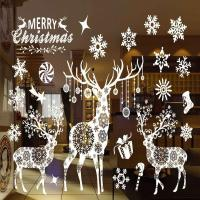 Merry Christmas Window Decorations Santa Claus Deer ...