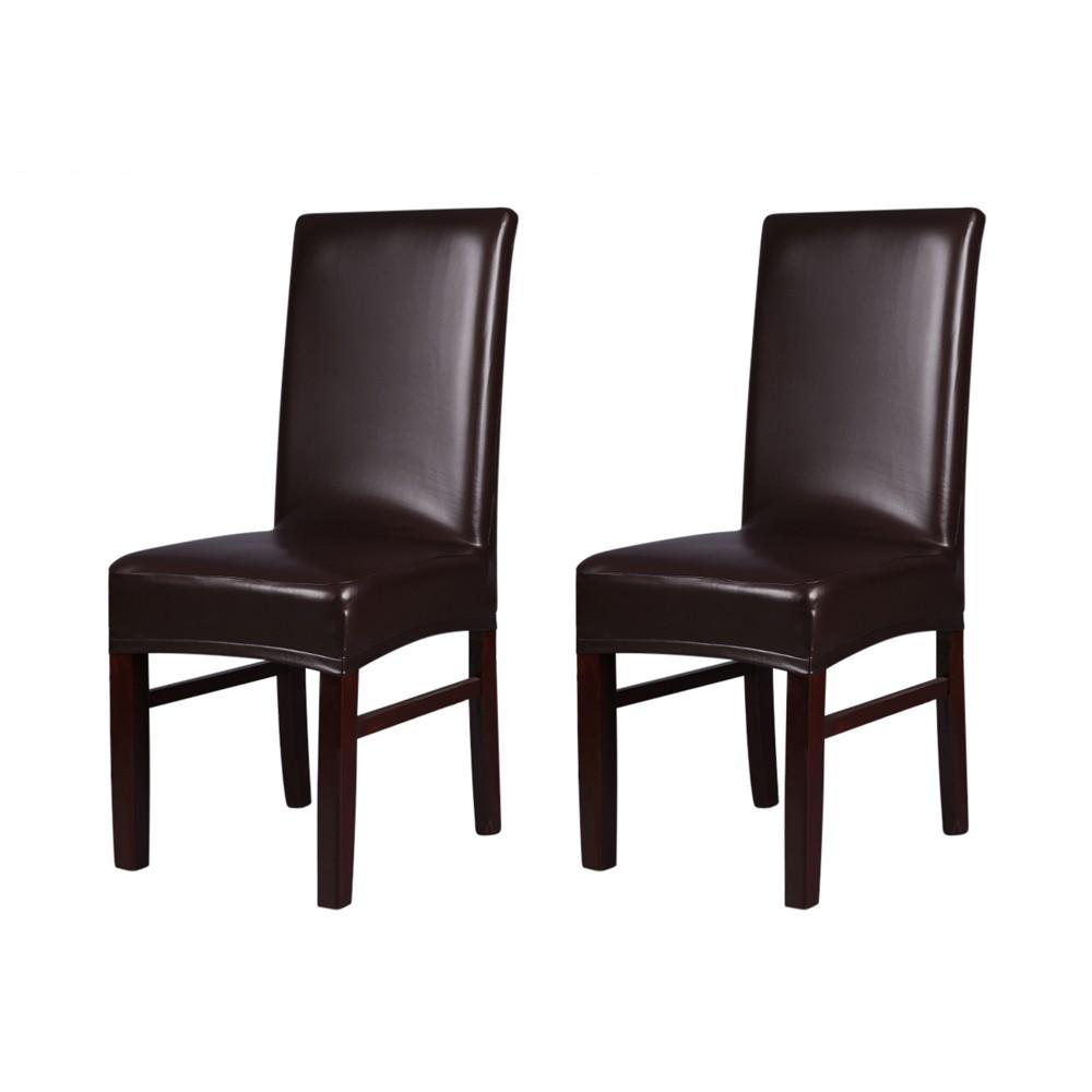 dark brown dining chair covers office overstock h19927br one piece pu leather stretchable back cheap pink black seat best cloth