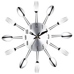 Kitchen Clocks Stand Alone Cabinet For Brief Modern Large Wall Clock Stainless Steel Watch Magic Spoon Fork Quartz Needle 3d Living Room Home Decor Outdoor
