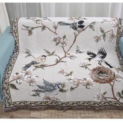 Sofa Cover Blankets Beds Sarasota Fl Chinese Tradition Style Blanket Bird Plant Pattern Macrame Cotton Carpet Thickening Home Bed Throw Down