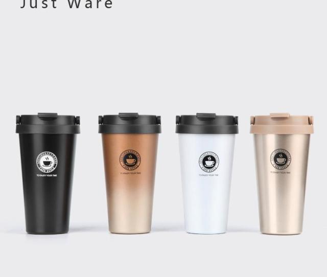 Justware Vacuum Insulated Travel Coffee Mug Stainless Steel Tumbler Sweat Free Cup Thermos Flask Water Bottle Ml Oz Coffee Mugs Design Coffee Mugs