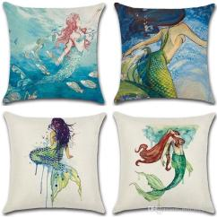 Pillow Covers For Living Room Black Red And Gold Decor 45 45cm Pillowcase Sofa Beautiful Mermaid Design Cushion Cover Flax Fabric Watercolor Painting Case 4 8kha Z Make