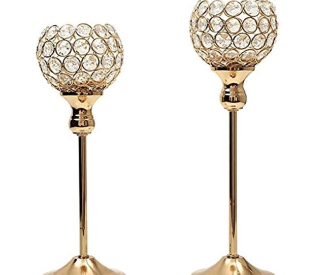 Gold Silver Crystal Candle Holders Coffee Table Hotel Mosaic Candlesticks Set Decoration For Thanksgiving Birthday Wedding Party Wx9 318 Gold Candlestick