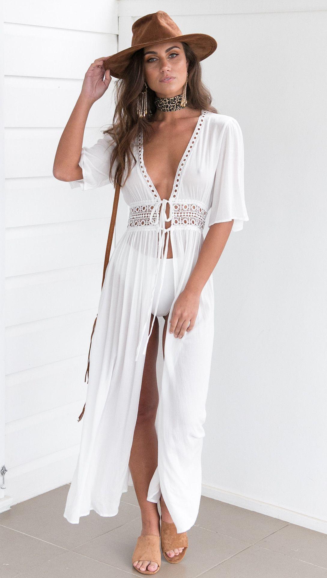 White Long Summer Beach Dress For Women Juicy Open Deep V