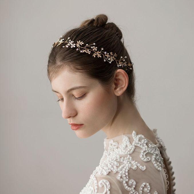 vintage wedding headbands hair accessories gold flowers with pearls  rhinestones women hair jewelry wedding tiaras bridal headbands #hp354