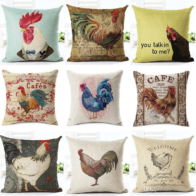 kitchen cushion covers gel mat mr cock hen cover cafe country pillow 10 styles thin linen cases 45x45cm bedroom sofa decoration replacement cushions for patio