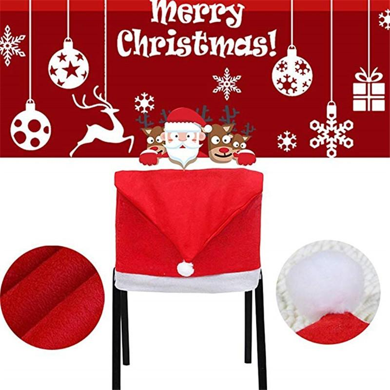 santa chair covers sets esports gaming 2019 hat clause red back kitchen for christmas holiday festive decoration from luzhenbao525