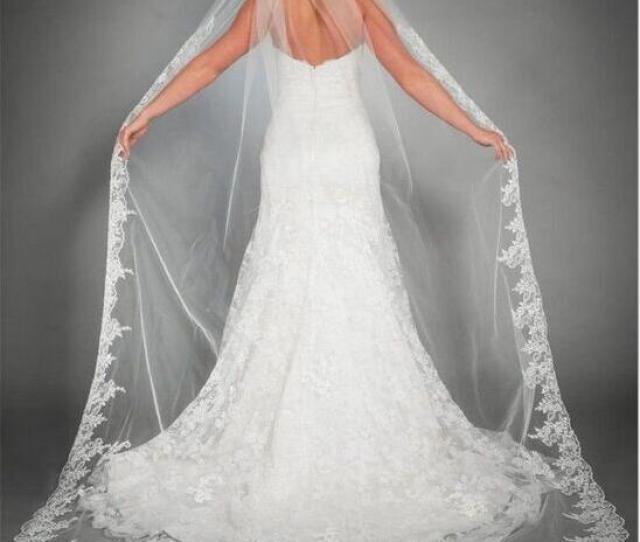 New Arrival  Meters Long Cheapest Chapel Length White Ivory Bridal Veil Lace Appliques  Veu De Noiva Longo Wedding Veil Veils For Weddings Vintage