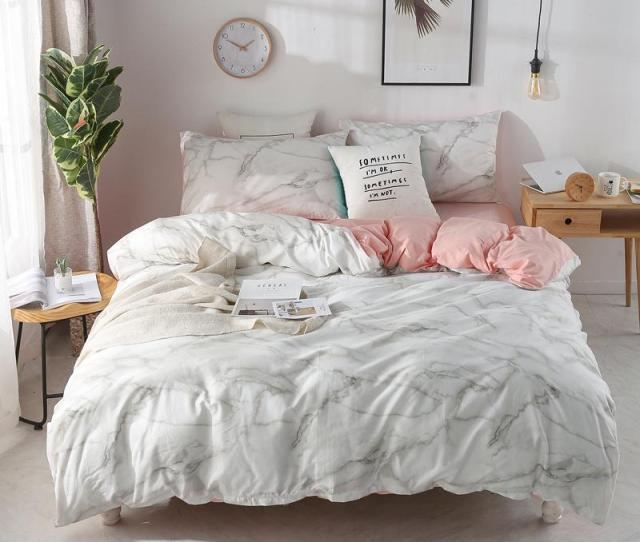 Marble Pattern Printed Bedding Quilt Cover Set Modern Bed Cover King Bedding Set Sheets Pillowcases Romantic J Queen Comforter Sets Nursery Bedding From