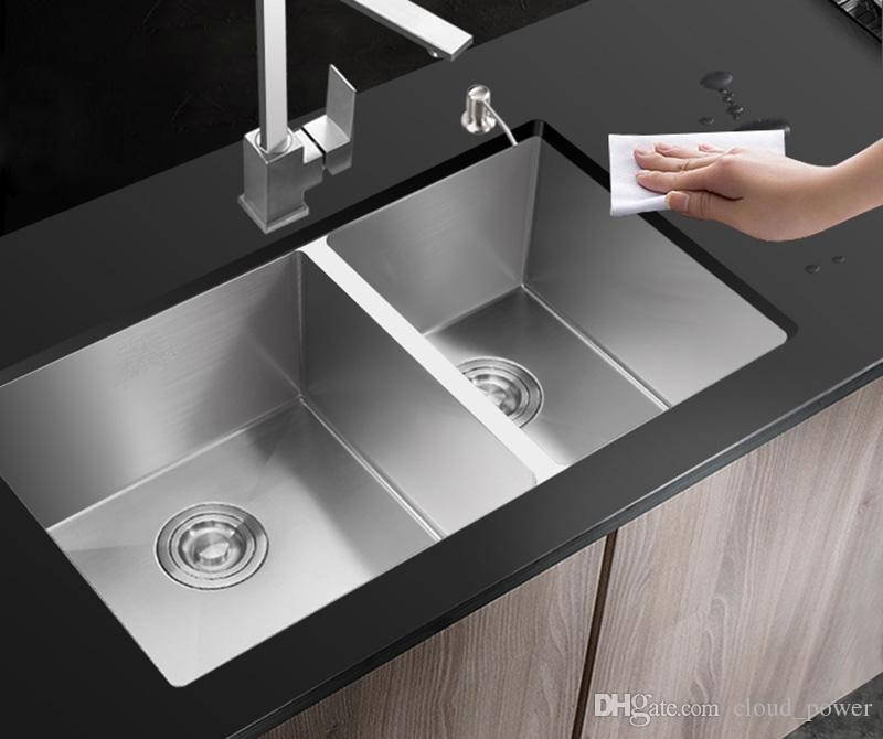 stainless steel undermount kitchen sinks remodeling madison wi sink 304 set double bowl drawing drainer handmade brushed seamless drain basket canada 2019 from