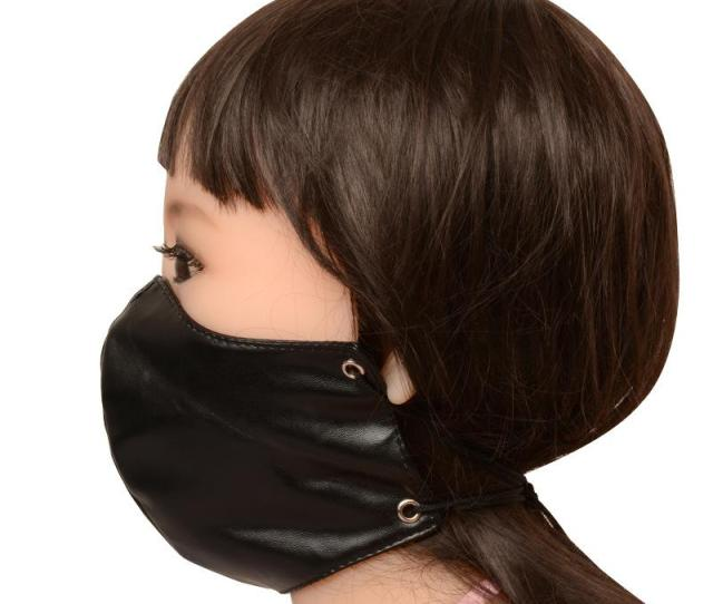 Women Fetish Group Sex Party Face Mouth Mask For Cam Girl Swinger Erotic Play Bdsm Bondage Faux Leather Black For Dropshipping Shop Bx Emo Bondage