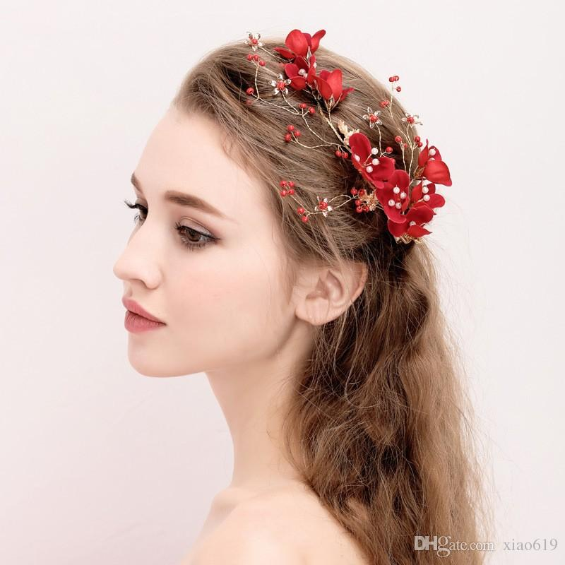 red floral hair clip bridal hair comb vintage wedding accessories handmade women party prom jewelry headpiece hair clips wholesale hair comb accessories