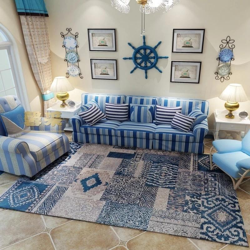 blue persian rug living room big design ideas carpet coffee table rectangle ground mat americal style bedside classical home decoration cost of