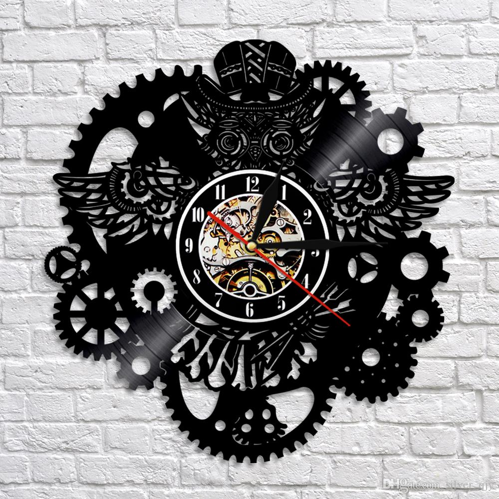 blue kitchen wall clocks las vegas hotels with steampunk owl art clock vintage vinyl record home decor gear cog night personalized watch