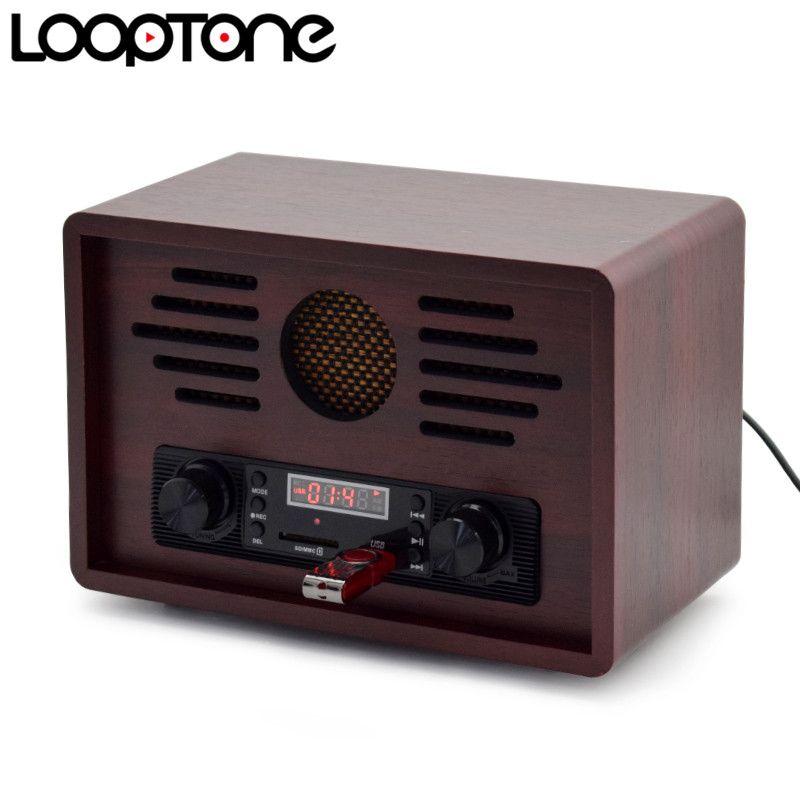 acheter looptone de table usb radio am fm hi fi radio retro classique retro avec haut parleur integre enregistreur fm en bois 110 130v 220 240v de