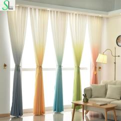 Green Curtains For Living Room Slate Floors In 2019 High Grade 5 Gradient Color Yellow Blue Gray Pink Curtain Modern Tulle And Fabrics Beautiful From Isaaco