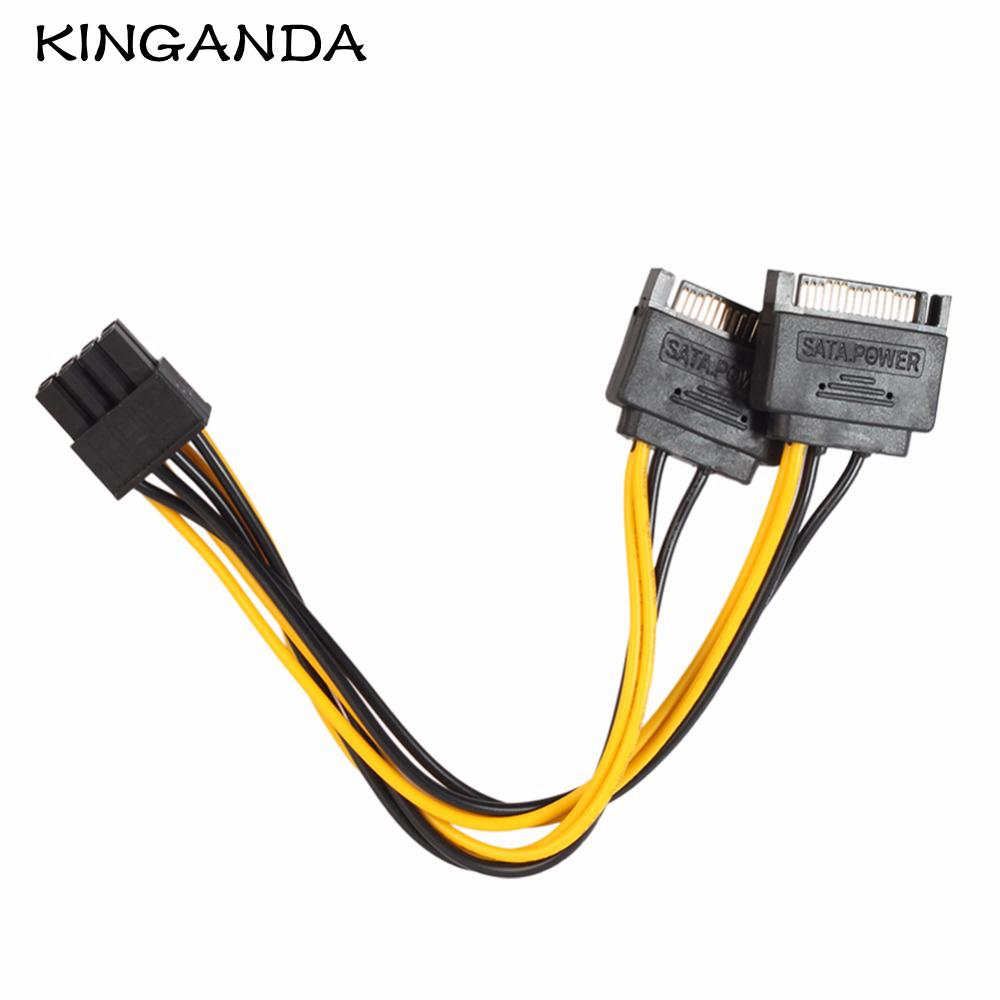 hight resolution of 17cm 8 pin to 15 pin video card sata power cable 6 2 8pin male to dual 15pin male pcie pci express mining adapter data cables