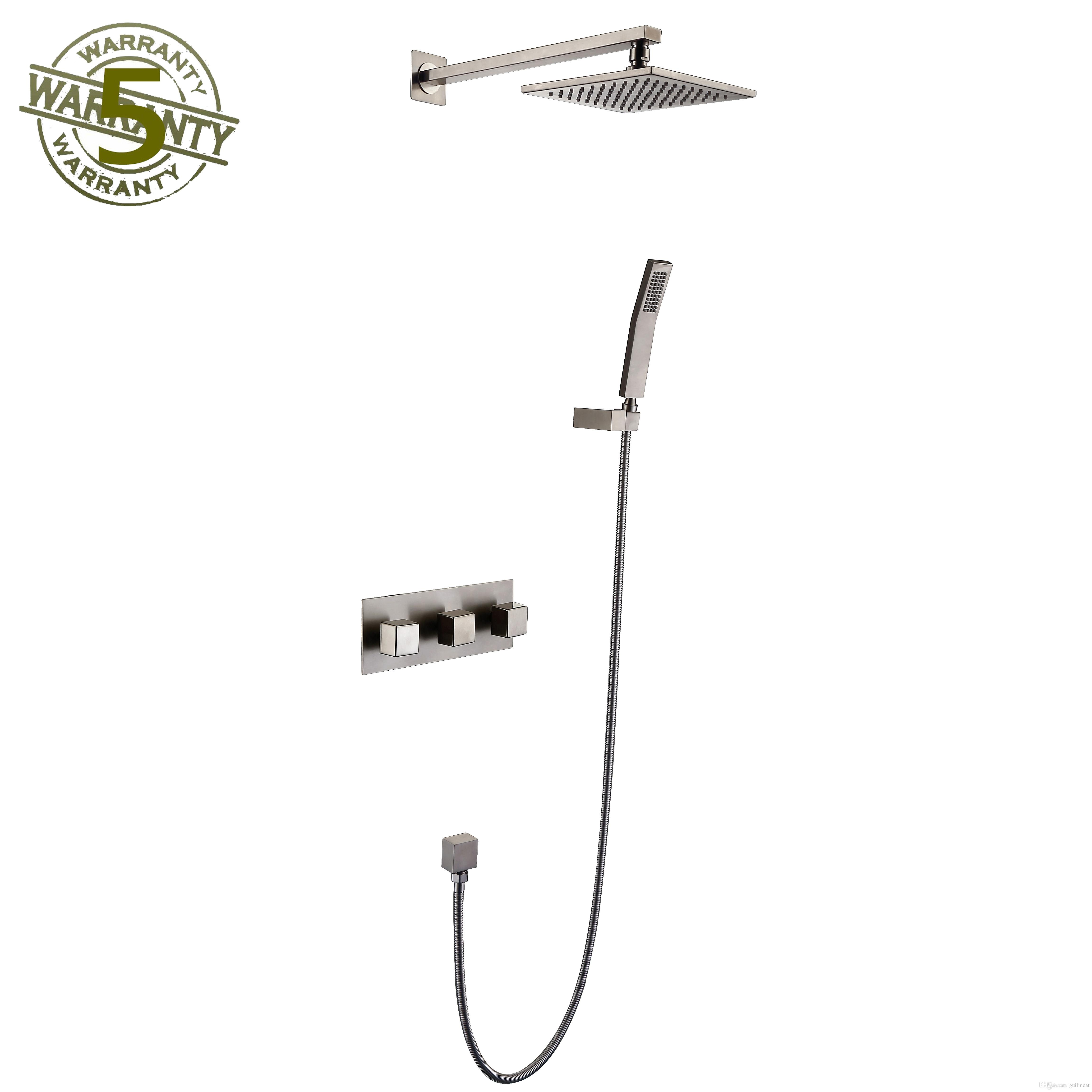 Shower Faucet System Nickel Brushed Finish Mixer 8 Showerhead Rainfall With High Pressure Combo Set Wall Mounted Three Handles