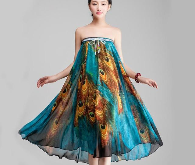 Womens Peacock Printed Long Chiffon Maxi Skirt Bohemia Style Girl Dress Summer Dresses For Women From Akickslife   Dhgate Com