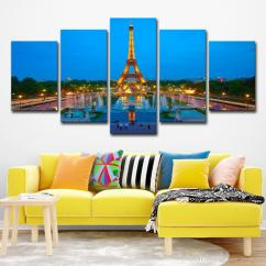 Paintings For Living Room Leather Couches 2019 Wall Art Canvas Decor Paris Eiffel Tower Pictures Hd Prints Dusk Night Landscape Poster From Print 16 41 Dhgate