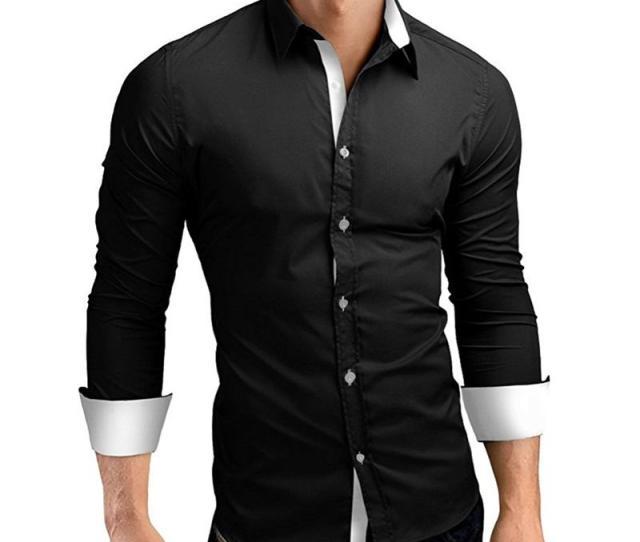 Dress Shirt Men Slim Fit Style Male For Boys White Black Casual Shirt Mens Long Sleeve Grid Cotton Classic Designer Brand Xl Dress Shirts Cheap Dress