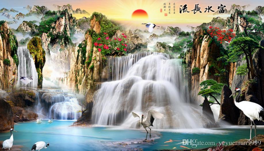 Free Fall Waterfall Desktop Wallpaper Custom Mural 3d Wallpaper Waterfall Wallpaper Room Living