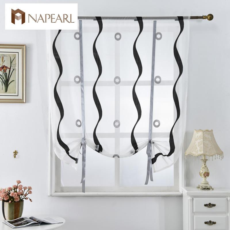 short kitchen curtains games free 2019 roman blinds white black tulle fabrics sheer panel door window treatment voile jacquard stripe from miniatur