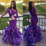 2018 black girls purple prom
