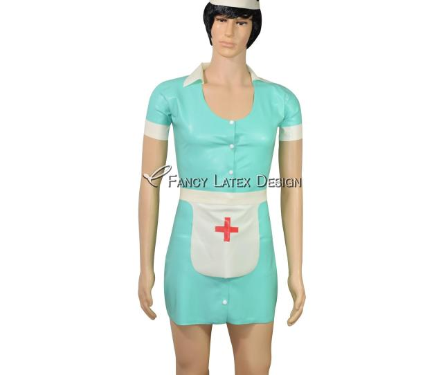 Black With White Sexy Latex Nurse Dress With Red Cross Rubber Uniform With Headgear Apron Button At Front Latex Dress Lyq 0055 Fetish Rubber Latex Nurse