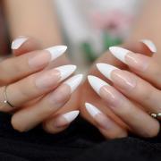 white french tips fake nails extra