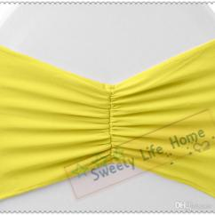 Yellow Spandex Chair Sashes Revolving Cane Bows Pleats Band Bright Stretch Wedding Party Decorations Can Customized Organza Folding Cover From