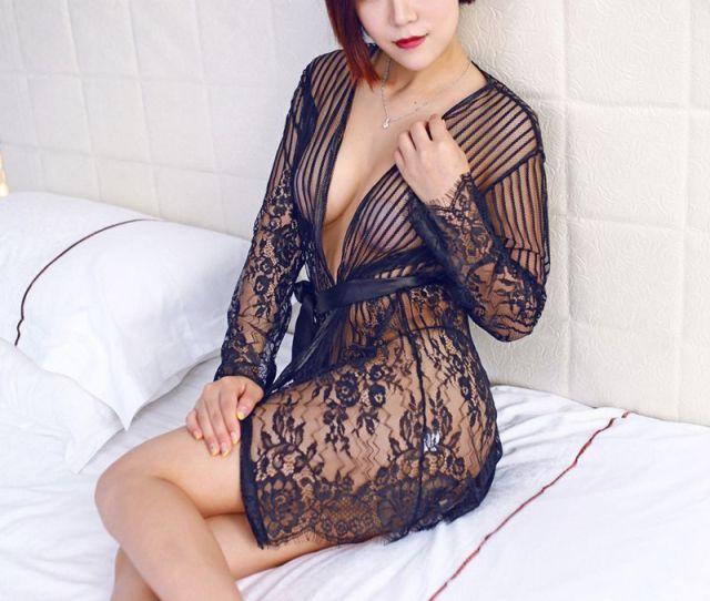 New Porn Womens Kimono Pijama Lace Sexy Costumes Role Play Night Gown Erotic Lingerie Sexy Hot Erotic Transparent Bathrobe Y18102206 Pajamas Pyjamas Pajamas