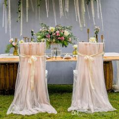 Diy Organza Chair Covers Banquet Wholesale Tulle Romantic Soft Cover Birthday Party Baby Shower Celebrations Decoration High Quality Slipcovers