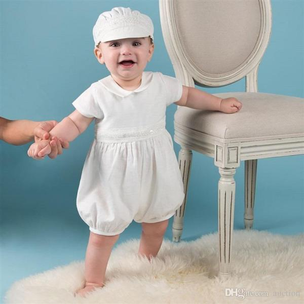 2019 Baby Boys White Baptism Outfit Christening Clothing Sets Summer Doll Collar