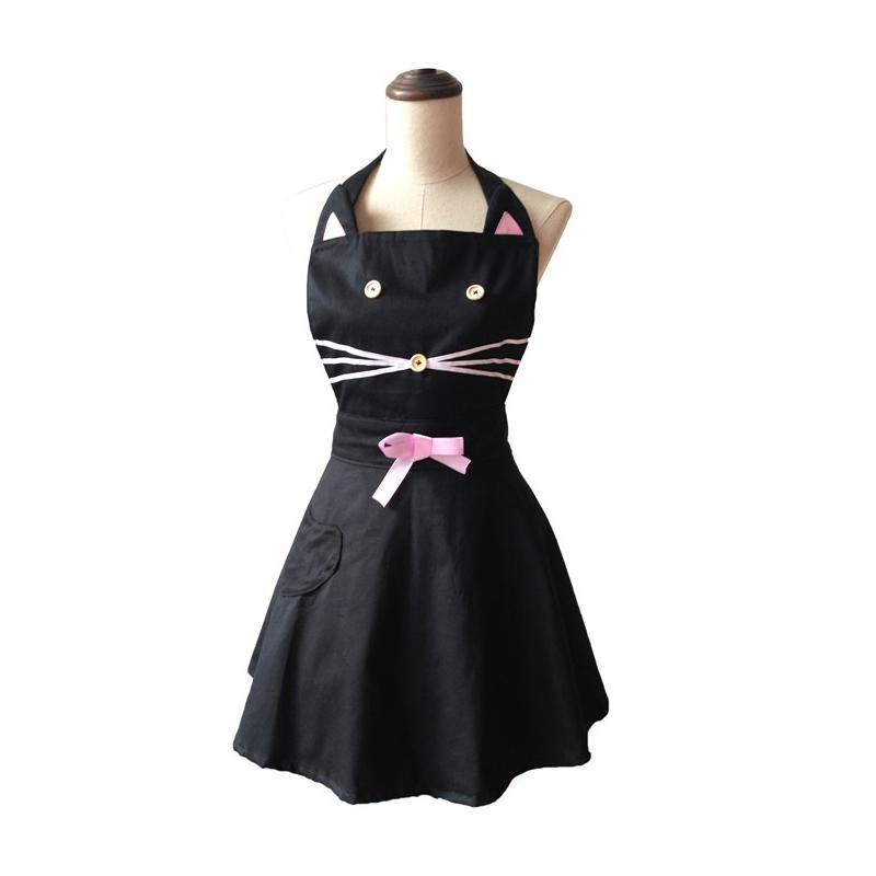 kitchen aprons long narrow table cartoon cat cute black woman apron cotton waitress salon hairdresser cooking dress avental de cozinha divertido half his and hers
