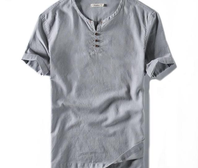 New  Brand Linen T Shirt Men Casual Solid Tees Linen Cotton Top T Shirt For Men O Neck Short Sleeve Buttons Tshirt Design Your Own T Shirts Womens Shirt