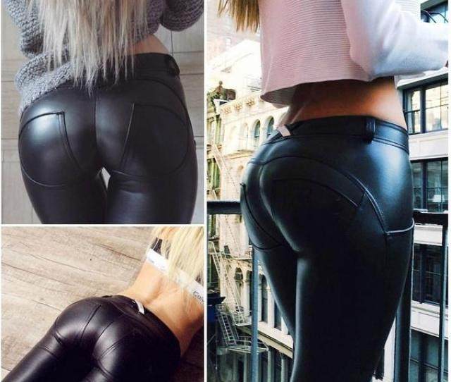 2019 Elastic Force Hot Ass Pu Tight Leather Pants Yoga Pants Hip Pants From Humann 24 02 Dhgate Com