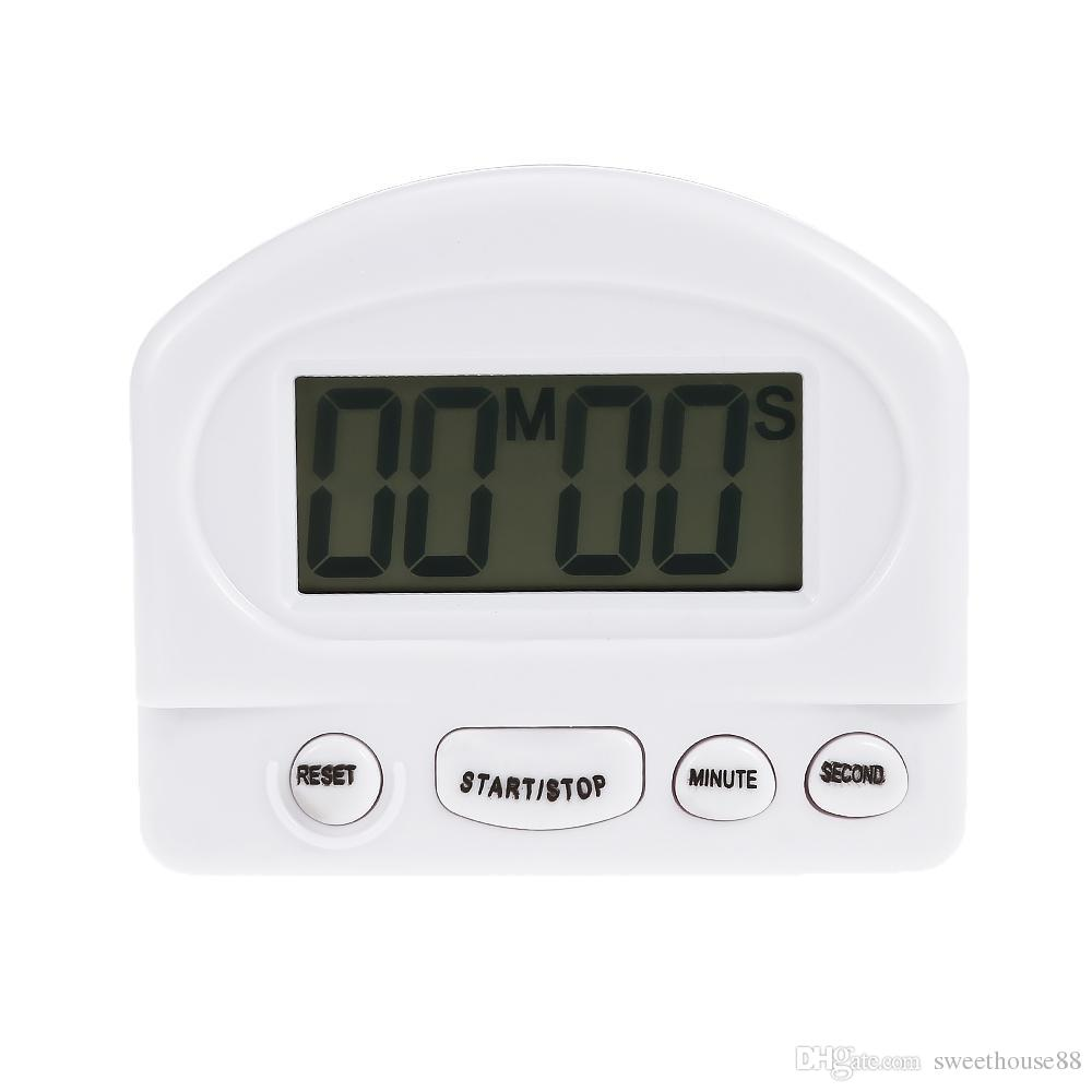digital kitchen timers jacksonville outdoor kitchens lcd countdown timer alarm with stand white practical cooking clock time reminder nb